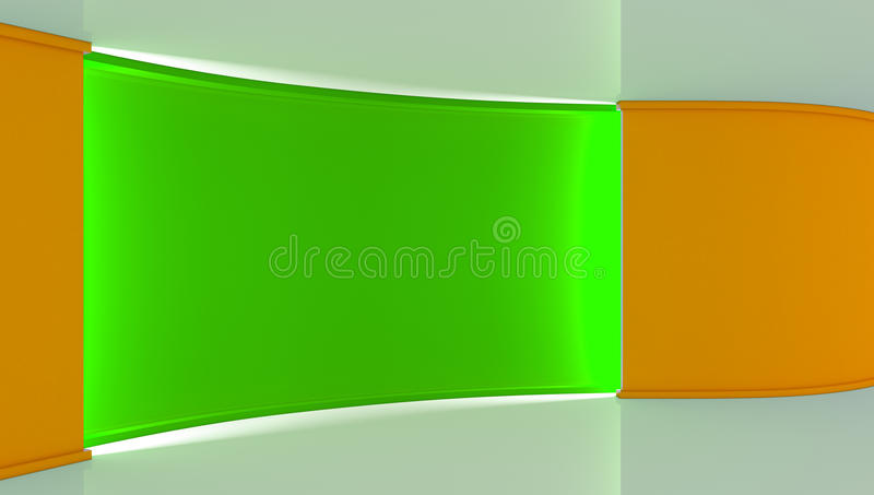Studio. Perfect backdrop for any green screen chromakey production. Green and Orange background. Green wall. Orange wall .3d. stock illustration