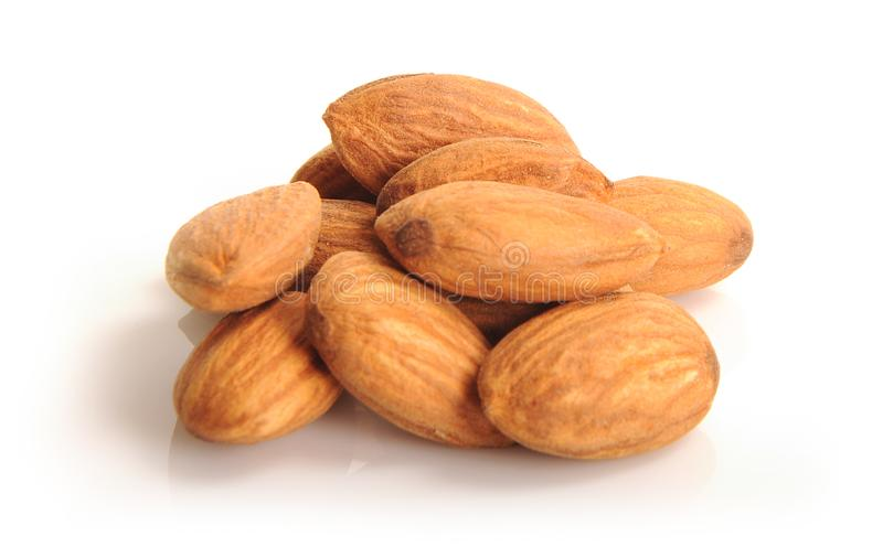 Almond dry fruit. Studio Photo of almond dry fruit on isolated clean white background stock photo