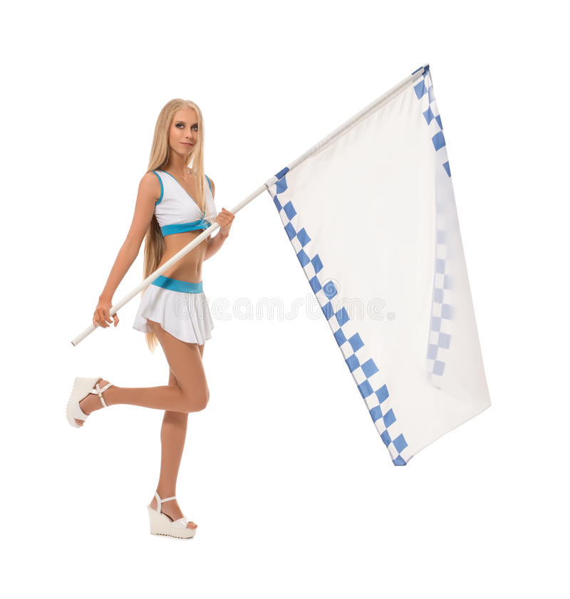 Studio photo of cute blonde with checkered flag stock image