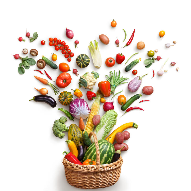 Studio photography of different fruits and vegetables isoleted on white backdrop, top view. royalty free stock image