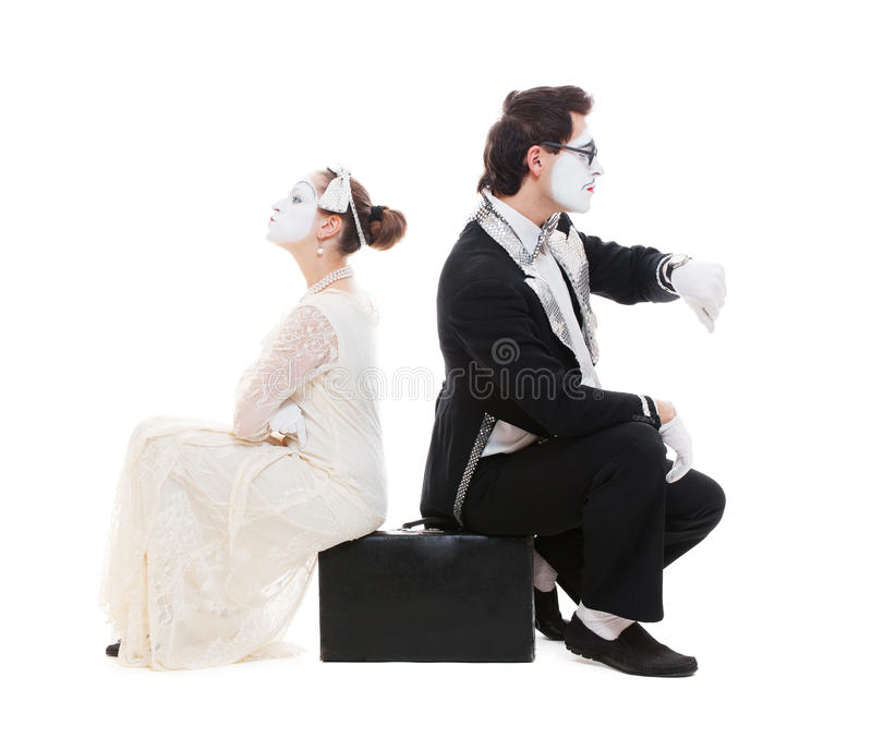 Download Studio Picture Of Two Mimes Sitting On Suitcase Stock Image - Image: 24673297