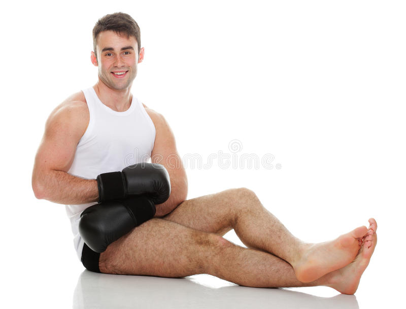 Studio picture from a young boxer. Sport health studio picture from a young boxer on white stock photo