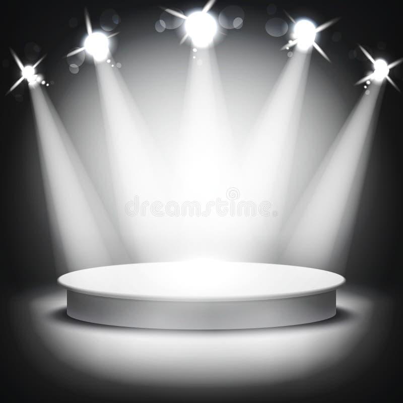 Studio with podium and spotlights vector grey show light vector illustration