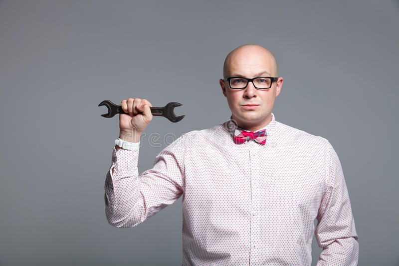 Studio portrait of business trainer showing the sales tools royalty free stock photography