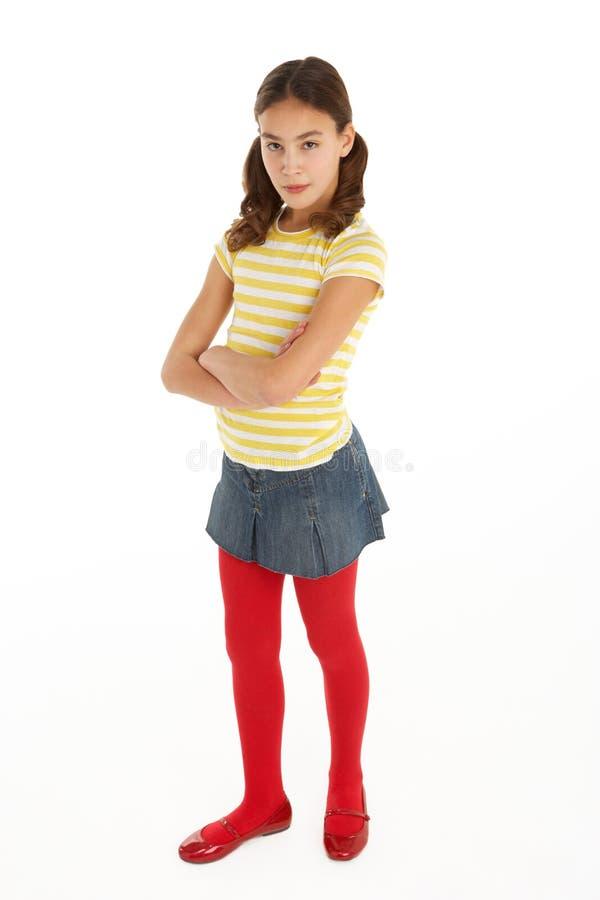 Download Studio Portrait Of Defiant Young Girl Stock Photos - Image: 12987823