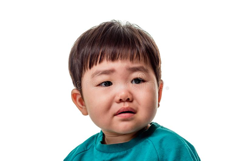 Studio portrait of an East Asian young child with a serious look on a white background stock image
