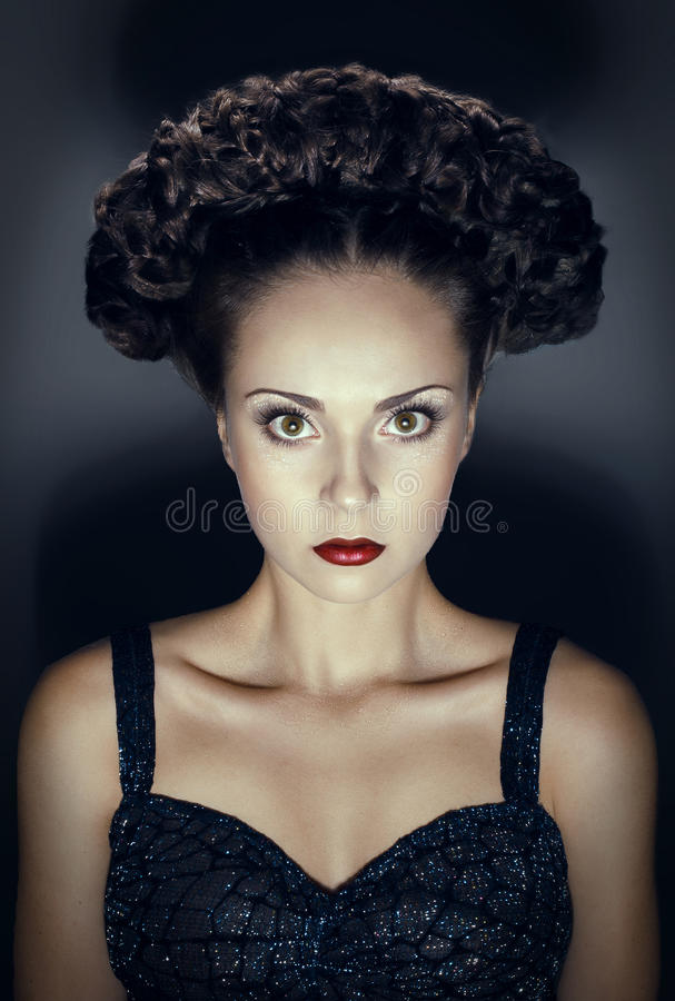 Studio portrait of gothic woman with hairstyle. Studio portrait of gothic woman stock photos
