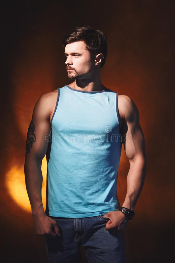 Handsome muscular man posing back in studio. Studio portrait of handsome young strong man in blue t-shirt posing in studio stock photo