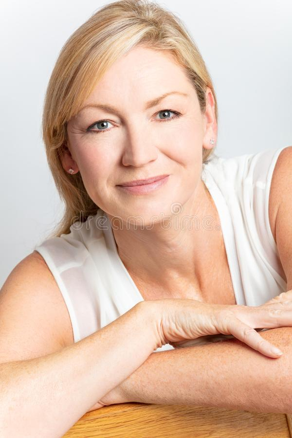 Studio Portrait of Healthy Happy Middle Aged Woman stock images