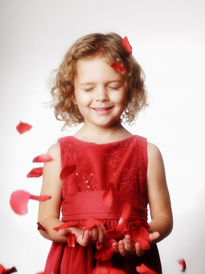 Studio portrait little girl royalty free stock images