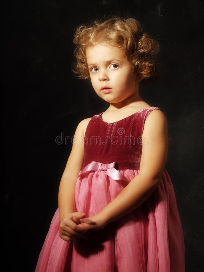 Studio portrait little girl stock photo