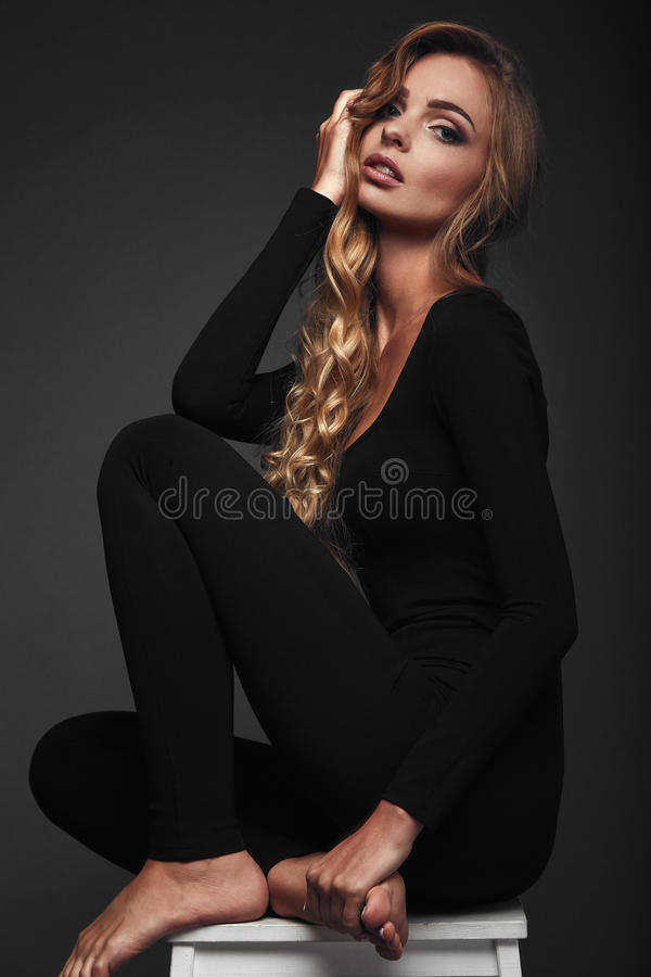 Studio portrait of a long hair blonde stock photography