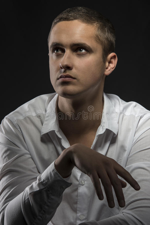 Download Sensual Young Man Looking Up Stock Image - Image of amazing, impressive: 29938493