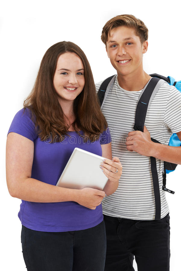 Studio Portrait Of Teenage Student Couple stock images