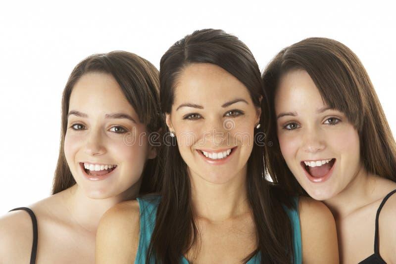 Studio Portrait Of Three Young Women royalty free stock photo
