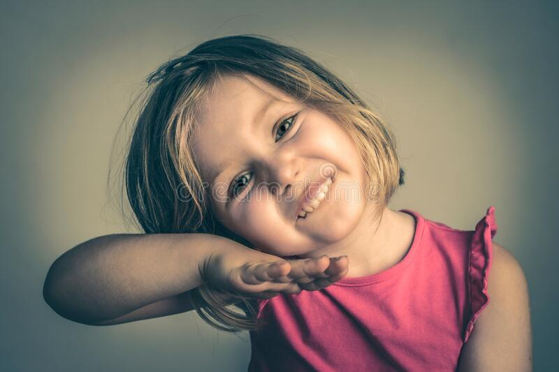 Studio portrait of a 4 year old girl stock images
