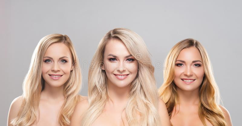 Studio portrait of young, beautiful and natural blond women over grey background. Close-up of smiling girls. Face royalty free stock photo