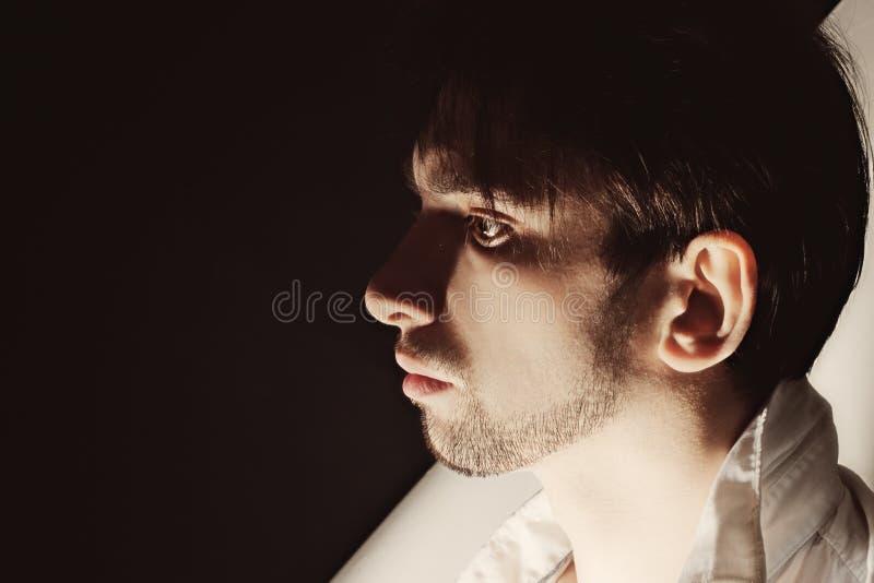 Studio portrait of young beautiful unshaven men stock image