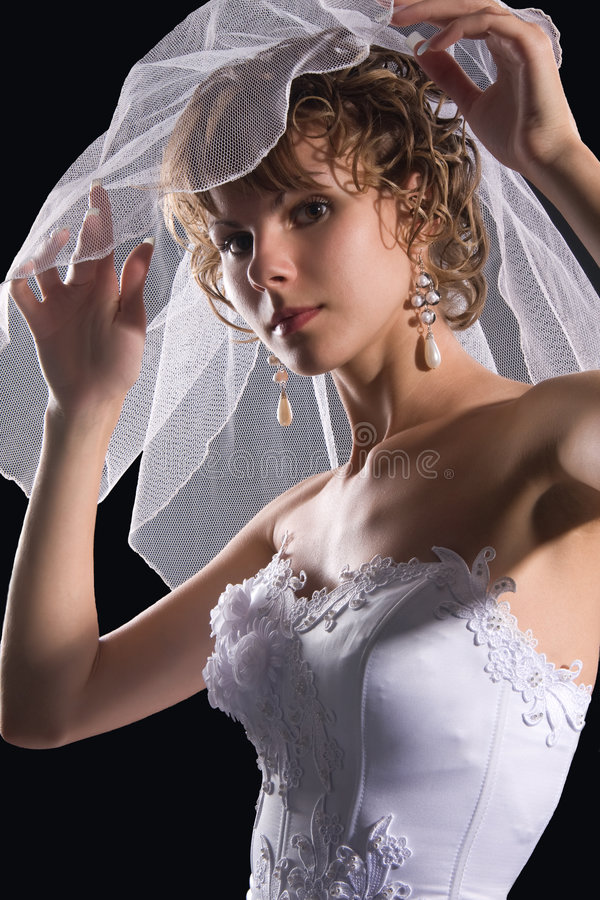 Studio portrait of a young bride royalty free stock image
