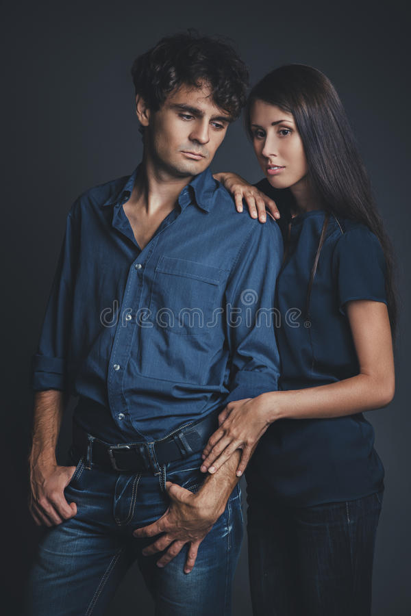 Download Studio Portrait Of Young Couple In Love Stock Photo - Image: 33114300