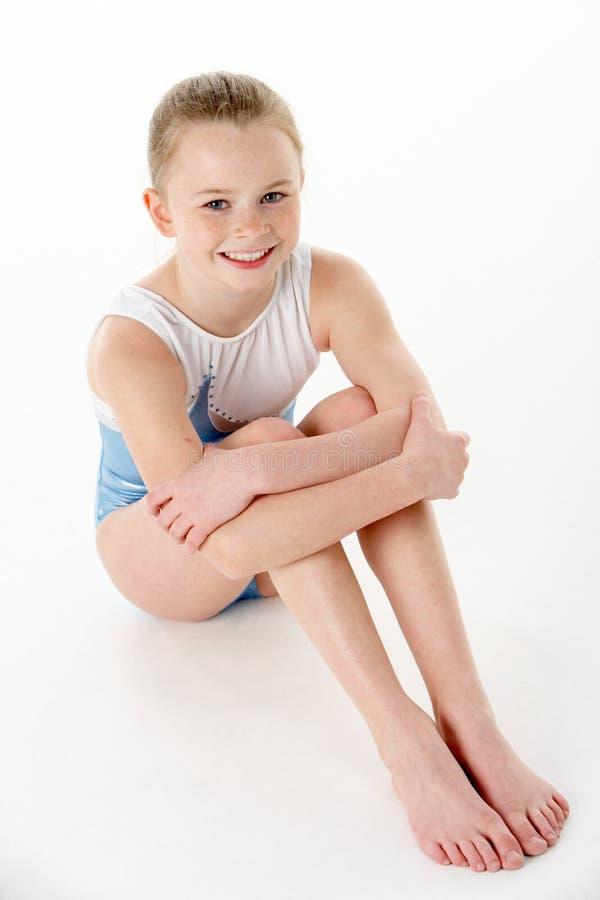 Studio Portrait Of Young Female Gymnast. Overhead Studio Portrait Of Young Female Gymnast stock image