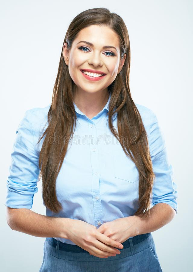 studio portrait of young smiling business woman. stock photo