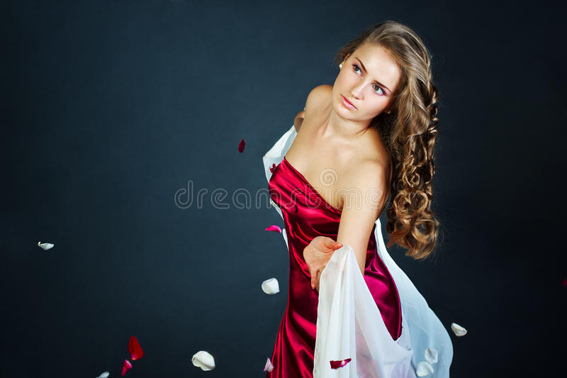 Studio portrait of young woman stock images