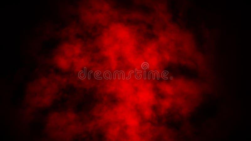 Studio rosso della fase del fumo Sovrapposizioni astratte di struttura della nebbia fotografia stock