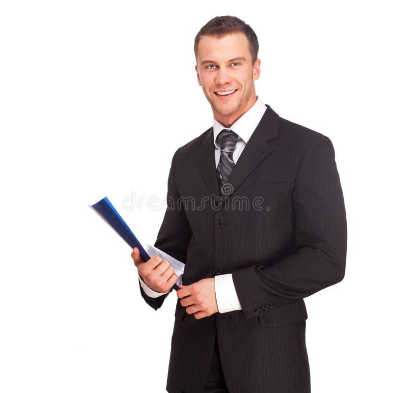 Studio schoss von einem Geschäftsmann auf weißem Hintergrund stockfoto