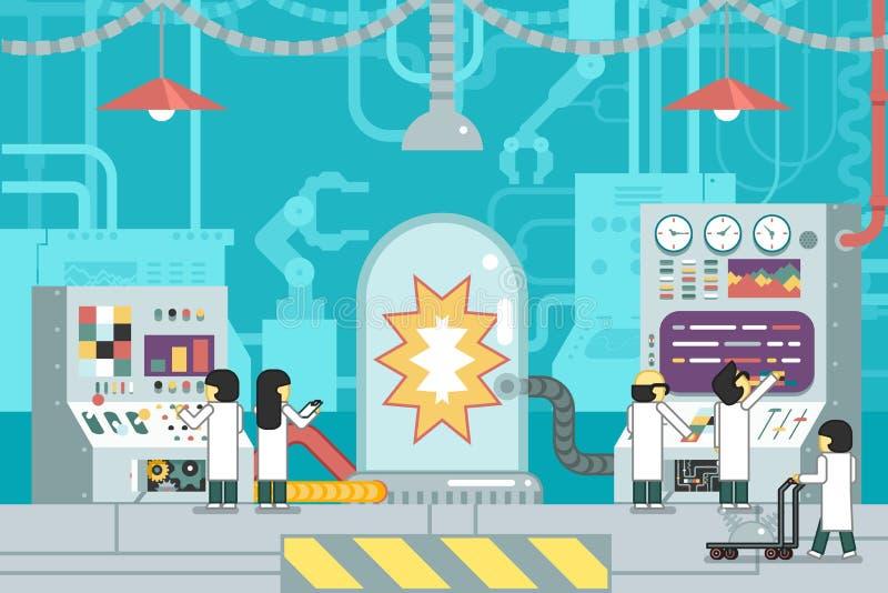 Studio scientifico di sviluppo di produzione di analisi del pannello di controllo del lavoro degli scienziati di esperienza di es royalty illustrazione gratis