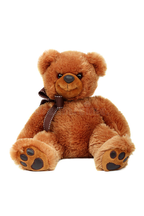 Download Brown Teddy Bear Doll Isolated Stuffed Fluffy Plush Sitting Soft Fur Cute Object Cuddly Little On White Background Small Gift Gold Stock Photo - Image of happy, playful: 57756262
