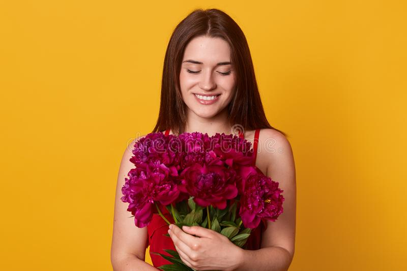Studio shot of beautiful brunette girl holding big bouquet with burgundy peonies. Happy stylish woman with flowers, charming lady. Has bitrhday present, posing stock image