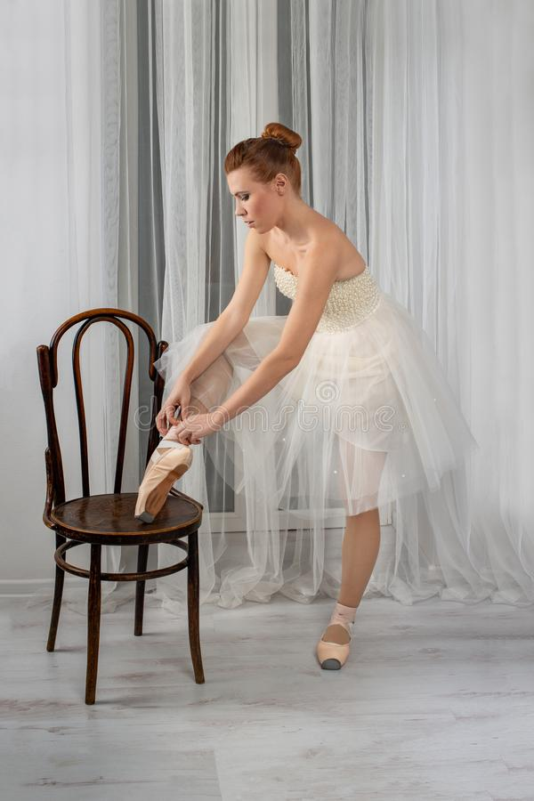 Studio shot of a calm beautiful ballerina in a white airy classic dress put her foot on a vienna chair and tying ribbons on pink royalty free stock photography