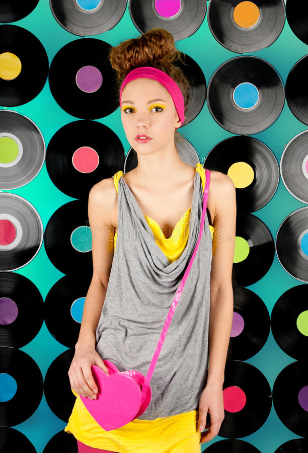 Studio shot of cheerful teenage girl royalty free stock photography