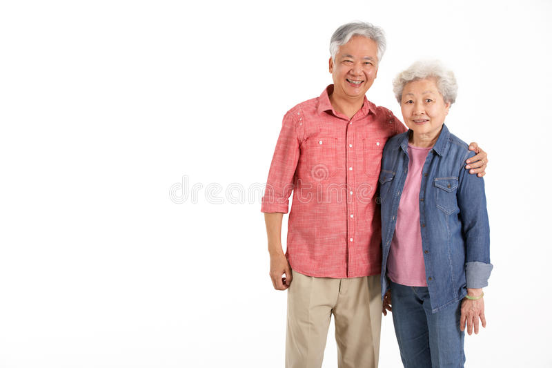 Studio Shot Of Chinese Senior Couple stock images