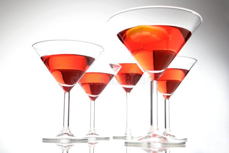 Studio shot of drinks i martini glasses stock image