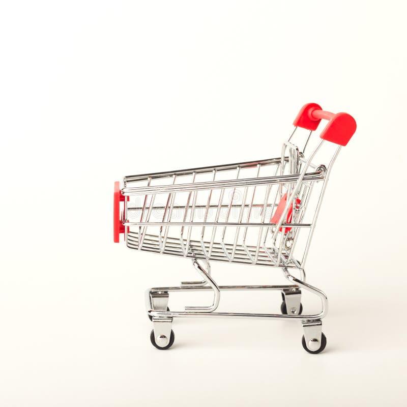 Empty shopping cart isolated on white background royalty free stock images