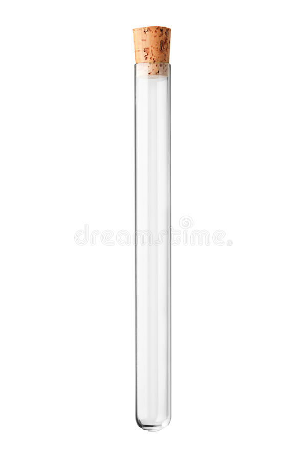 A studio shot of an empty test tube with a cork stock images