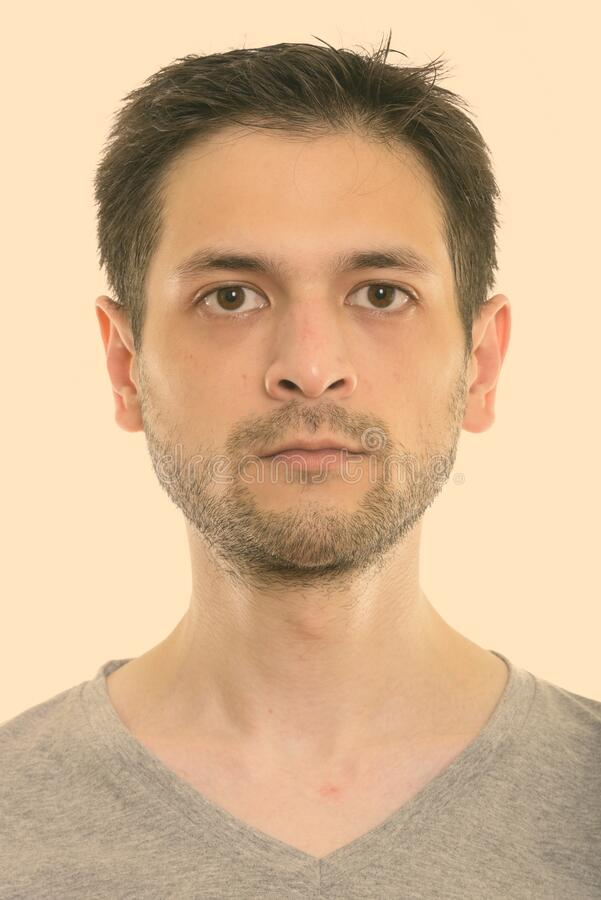 Studio shot of face of young man stock photography