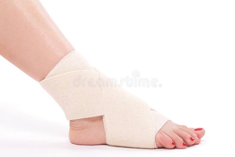 Studio shot female ankle tied with an elastic bandage stock image