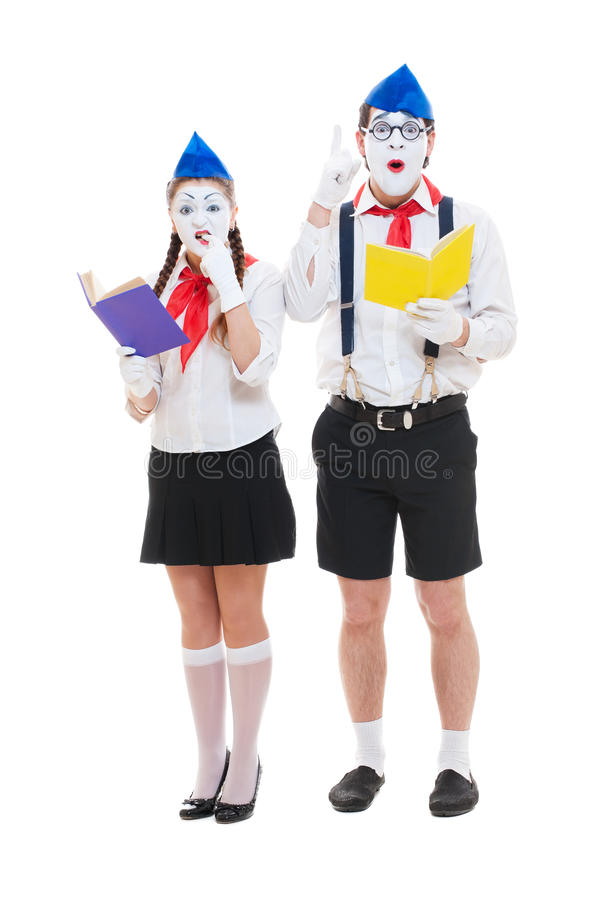 Download Studio Shot Of Funny Mimes With Books Stock Image - Image: 24283743