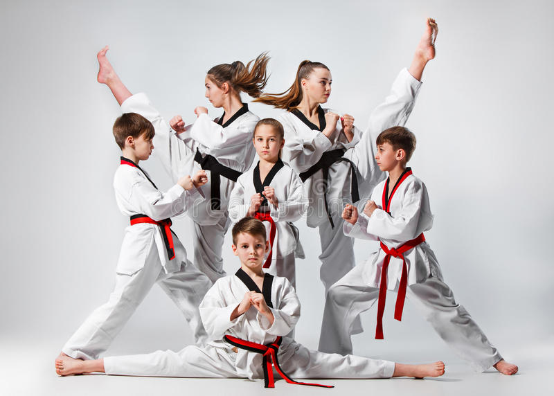 The studio shot of group of kids training karate martial arts royalty free stock photography