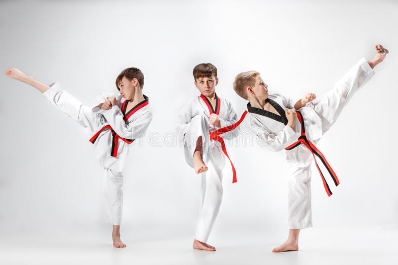 The studio shot of group of kids training karate martial arts royalty free stock photo