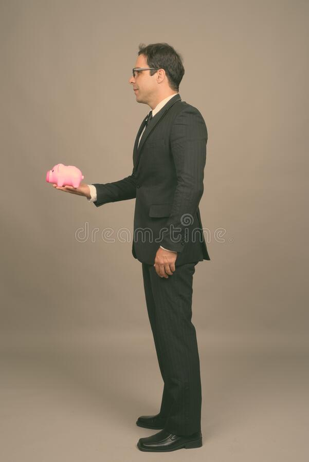 Portrait of handsome Persian businessman in suit stock photo