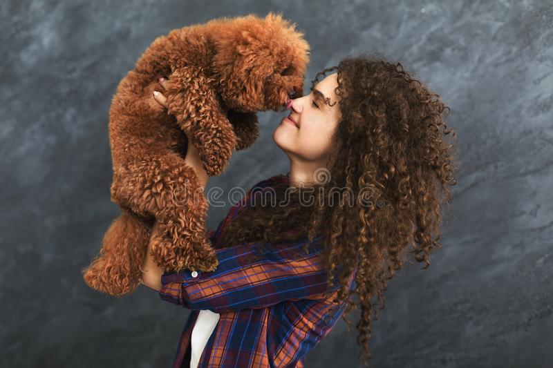 Studio shot of happy woman with cute curly dog stock photos