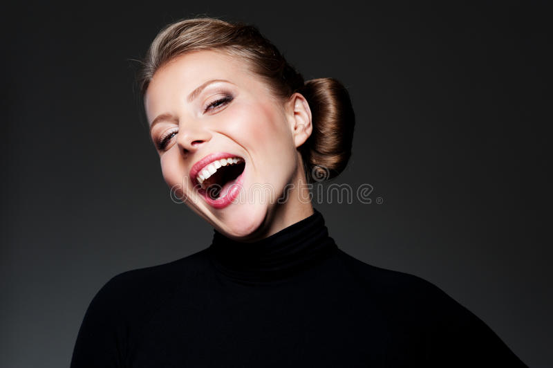 Download Studio Shot Of Happy Young Woman Stock Photo - Image of white, face: 27341798