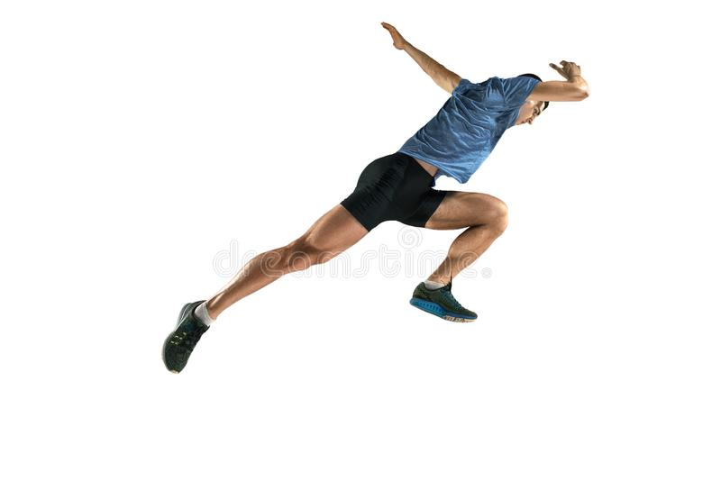 The studio shot of high jump athlete is in action. Isolated on white background stock image