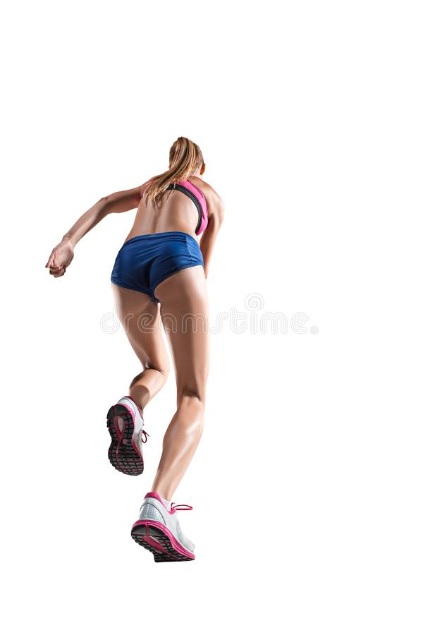 The studio shot of high jump female athlete is in action. The studio shot of high jump athlete or fit woman in action isolated on white background stock images