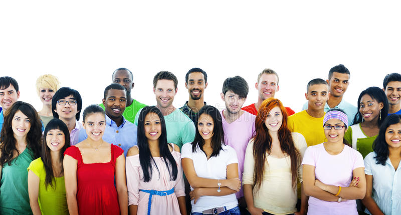 Studio Shot of Large Group of Young Adult Concept stock photos