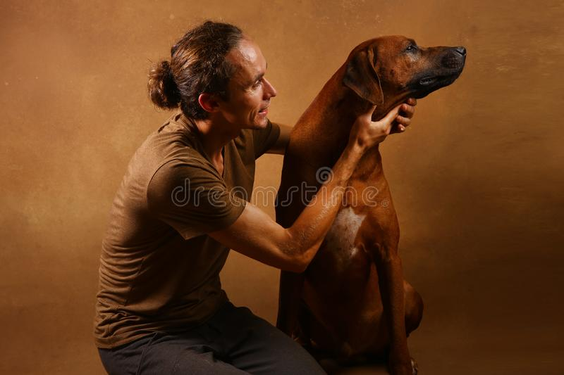 Studio shot of a man with Rhodesian Ridgeback Dog on brown Background. Front view at a a man hugging Rhodesian Ridgeback Dog sitting on brown background in stock images